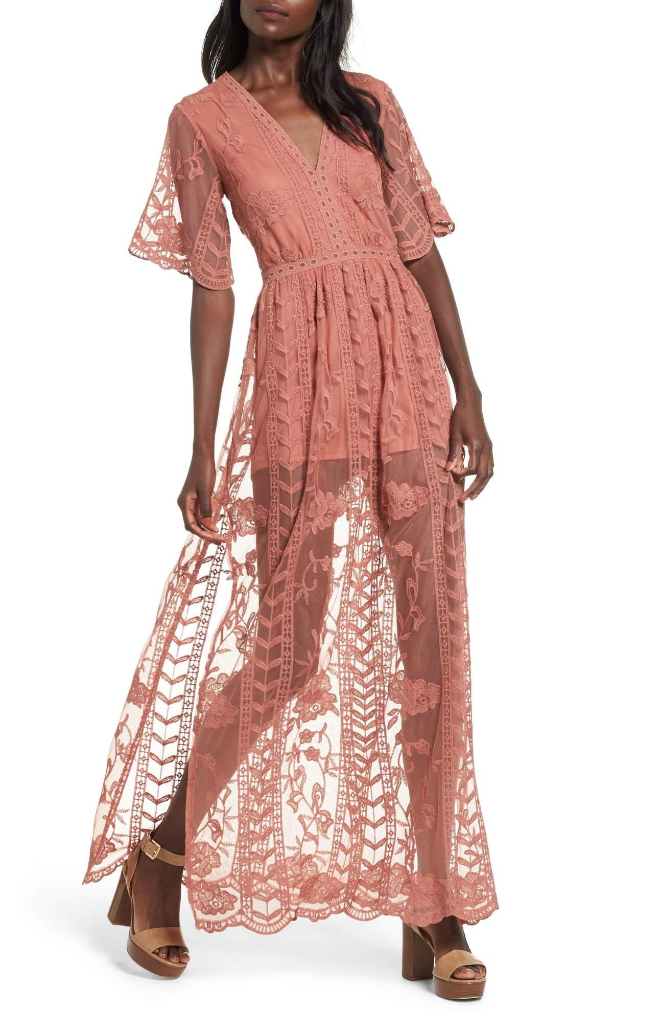 <p>This Lace Overlay Romper/SOCIALITE is so romantic! The mix of the sheer and lace is perfection.{&nbsp;} Also, you'll see a lot of the 'burnt rose' color this Spring - its a bit bolder than the classic Spring pastels we are used to. $79.00{&nbsp;} at Nordstrom. (Image: Nordstrom){&nbsp;}</p><p></p>