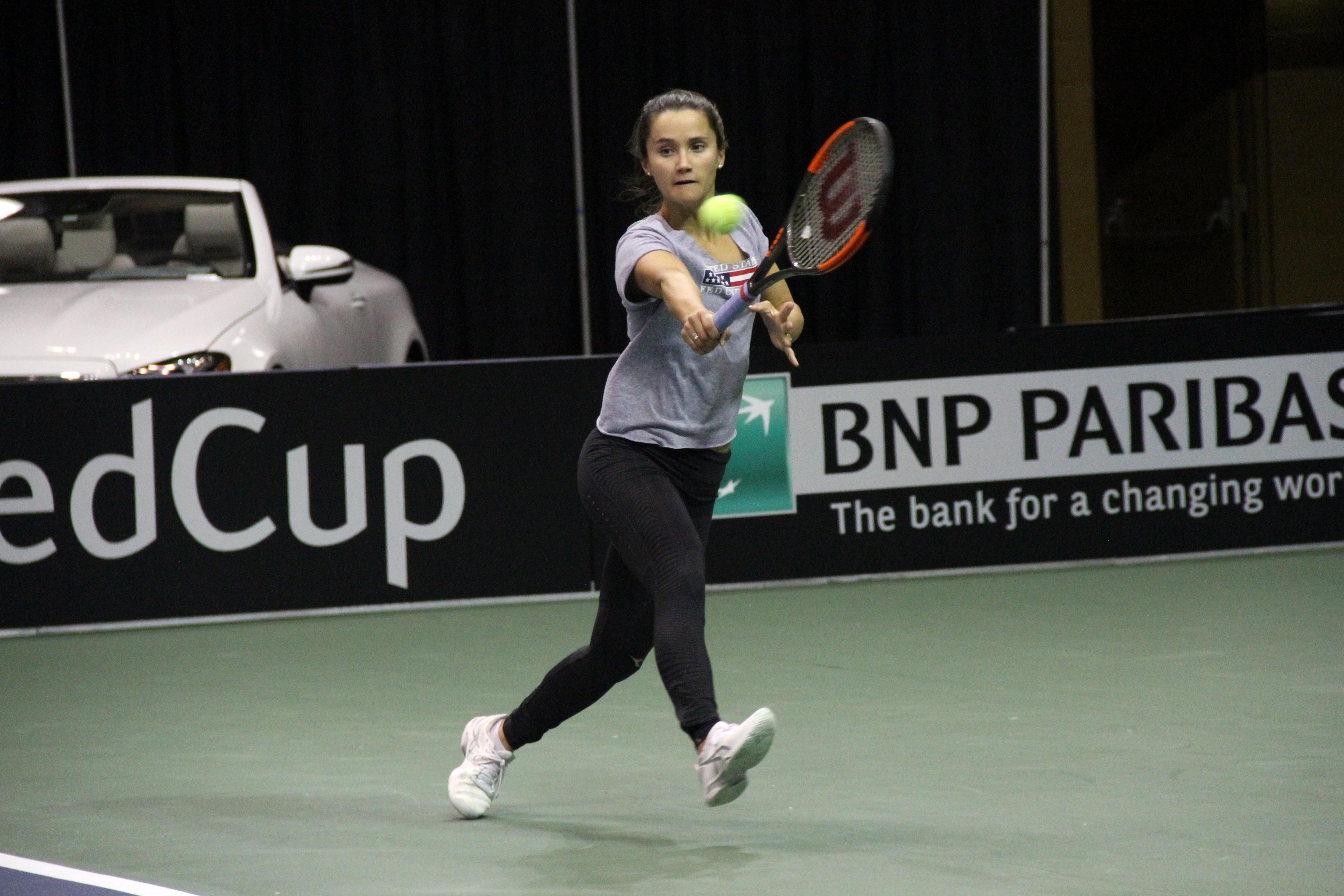 <p>Lauren Davis practices at the US Cellular Center on Feb. 7, 2018, ahead of the Fed Cup. (Photo credit: WLOS Staff)</p>