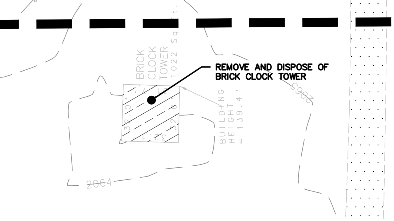 Project AV2 plans call for demolition of the American Enka Co. clock tower to make room for parking spaces for close to 300 workers. (Photo credit: WLOS staff)