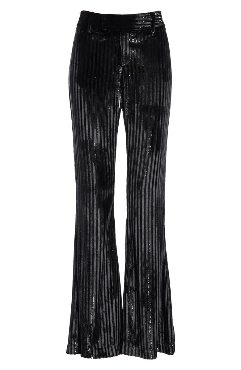 Smythe Velvet Stripe Bootcut Pants,{ } $495.{ }Give the special lady in your life a gift to help her shine. Nordstroms helped us shop for a standout gift she'll love! (Image courtesy of Nordstrom).