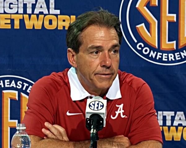Nick Saban talks to the media after winning the 2012 SEC Championship over Georgia on Saturday.