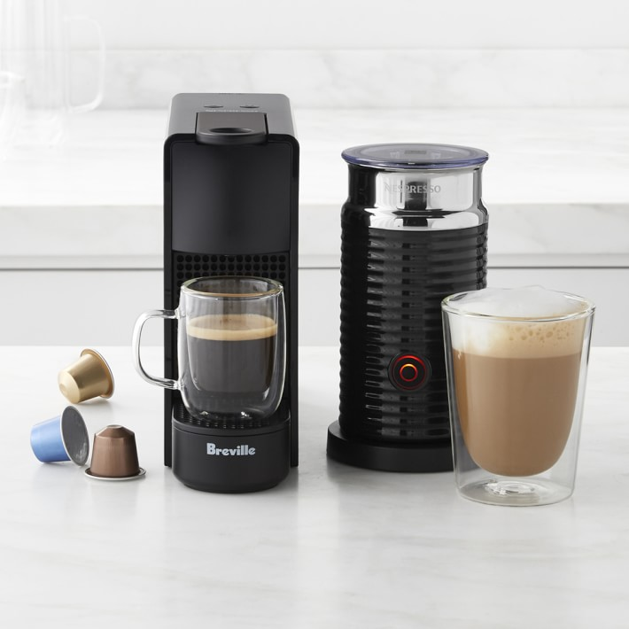 Find Nespresso's compact Essenza Mini Espresso Maker with Aeroccino at Williams-Sonoma. This mini machine packs a punch and delivers rich coffee flavors in mere minutes. The coffee fanatic in your life will be roaring to go with their favorite milk-based coffee drinks. (Image: WIlliams-Sonoma)<p></p>