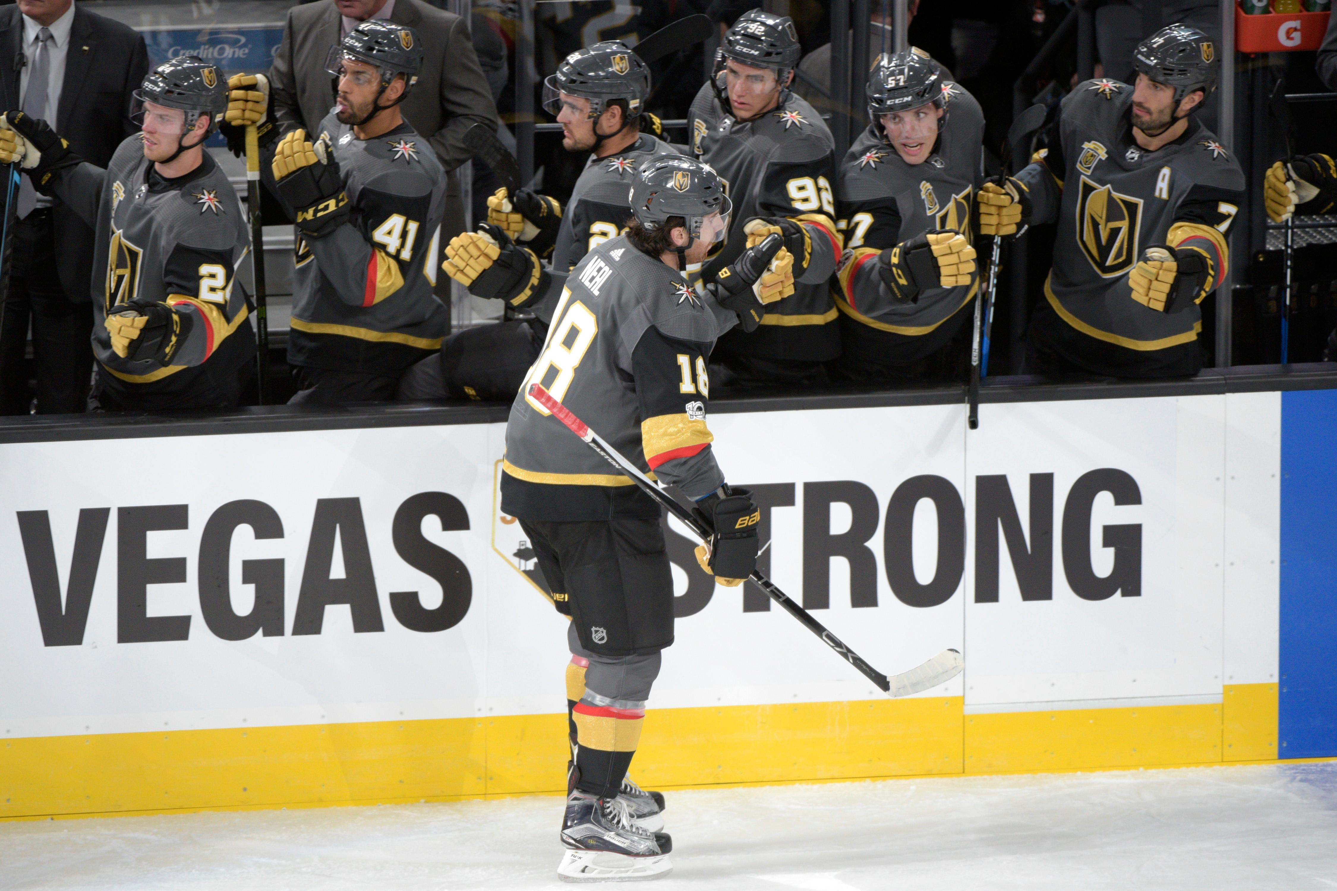 Vegas Golden Knights right wing James Neal (18) is congratulated after a gaol during the Knights home opener against the Arizona Coyotes Tuesday, Oct. 10, 2017, at the T-Mobile Arena. The Knights won 5-2 to extend their winning streak to 3-0. CREDIT: Sam Morris/Las Vegas News Bureau