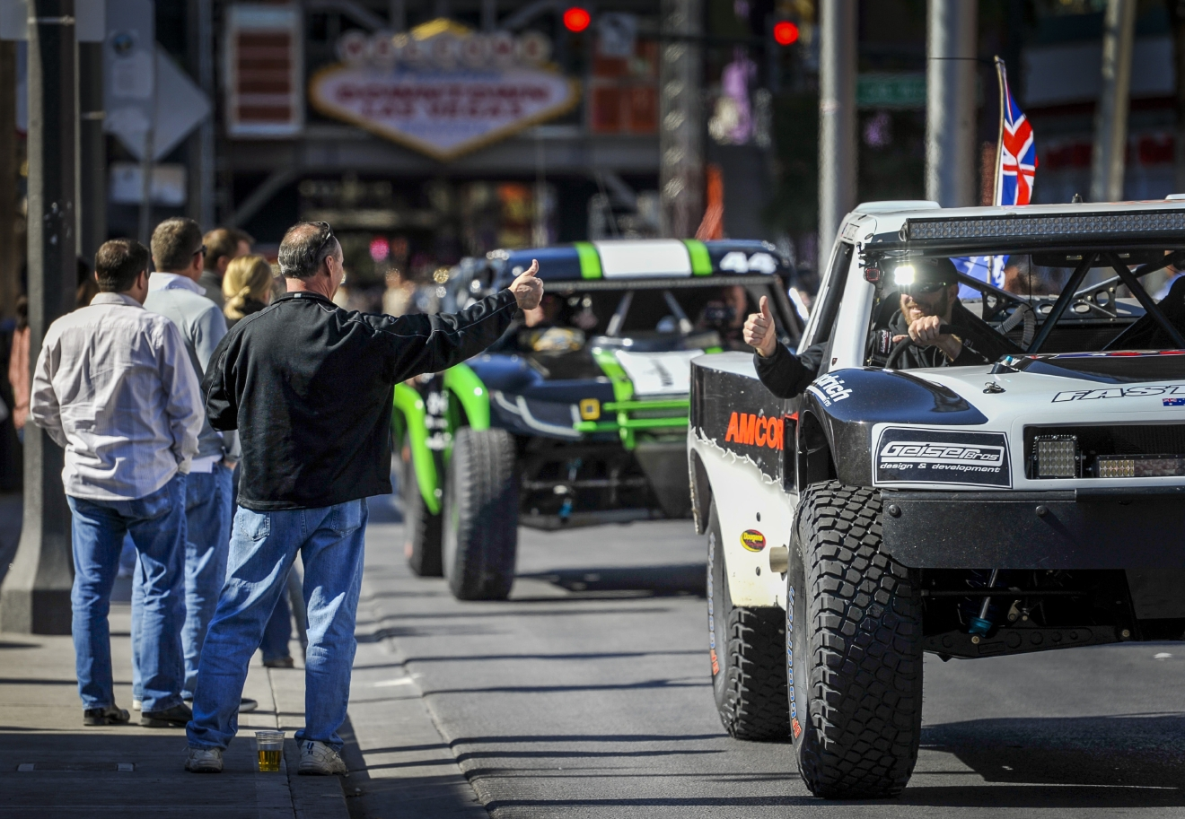Race fans greet the dirivers as the Mint 400 4 Wheel Parts Vehicle Procession powered by Odyssey Battery enters downtown Las Vegas along Fremont Street East to kick off the Mint 400 off-road race weekend on Wednesday, Mar. 1, 2017. [Mark Damon/Las Vegas News Bureau]