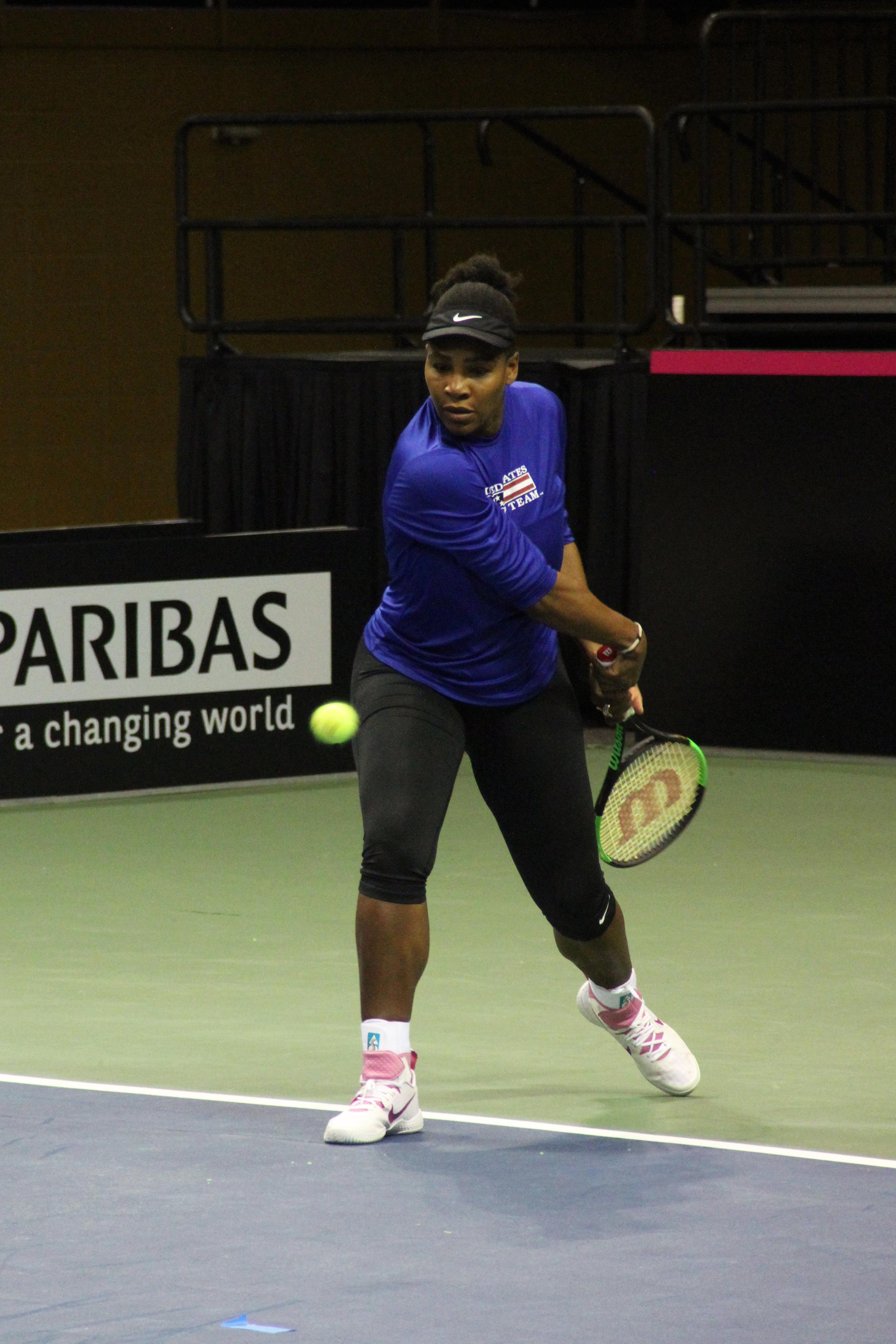 Serena Williams practices at the US Cellular Center on Feb. 7, 2018, ahead of the Fed Cup. (Photo credit: WLOS Staff)