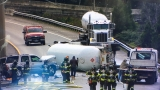 Overturned tanker crash in Seattle blocks all lanes of I-5 at I-90