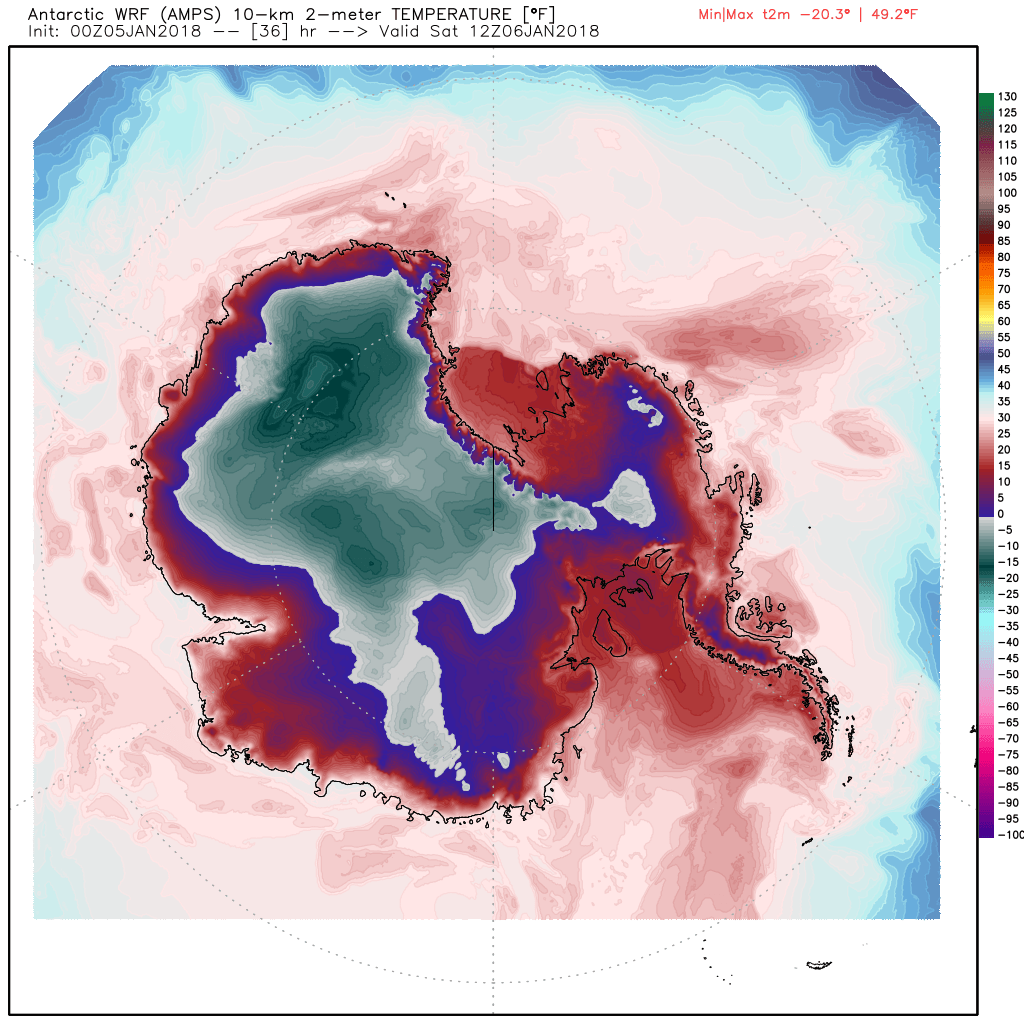 Map showing predicted temperatures at 7 a.m EST (12 noon UTC time) across Antarctica on Saturday moring (Map via WeatherBell.com)