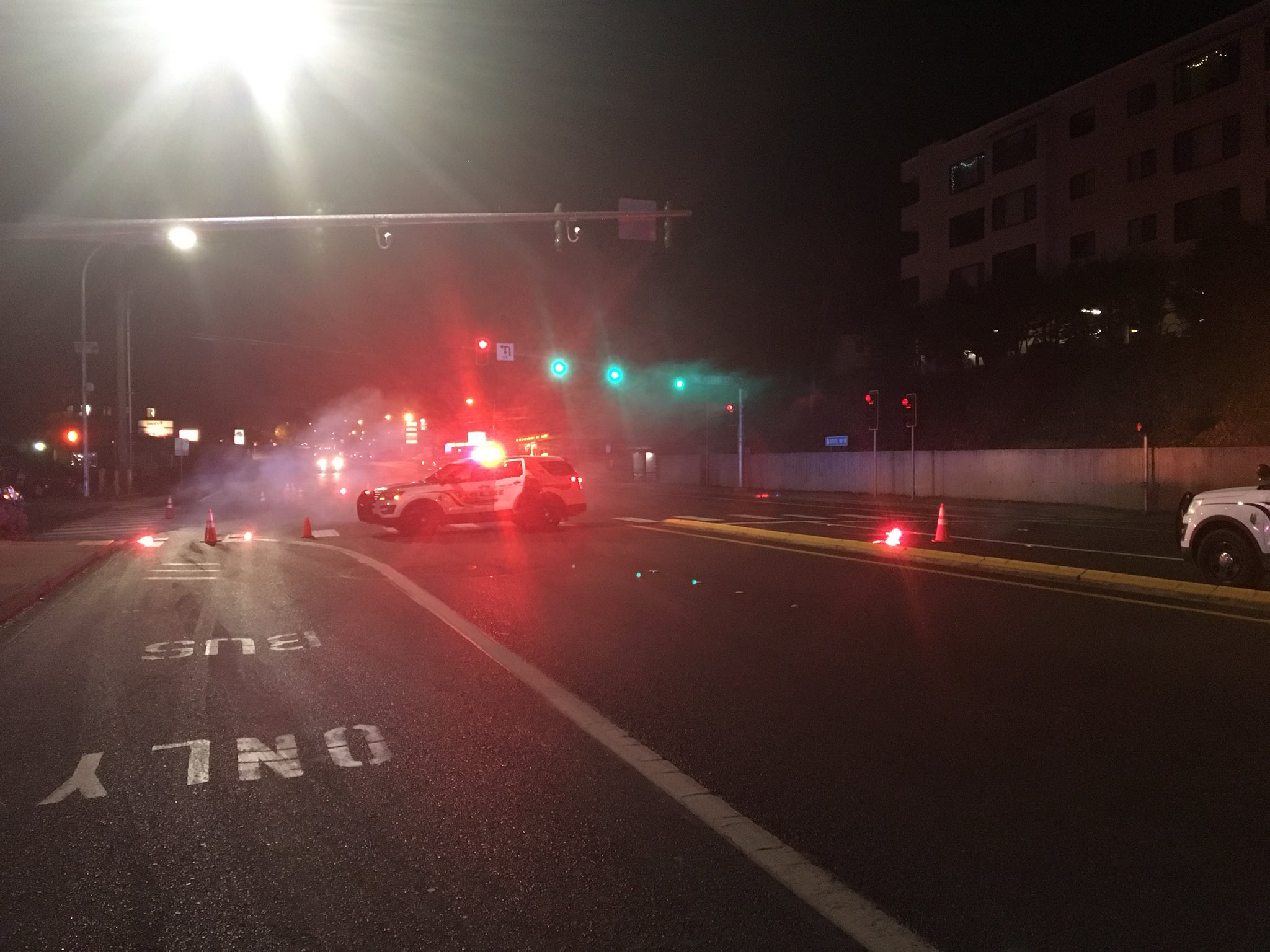 A fatal crash investigation shuts down eastbound lanes of SR 522 in Lake Forest Park near NE 155th St. (Photo credit: Joshua Morgan)<p></p>