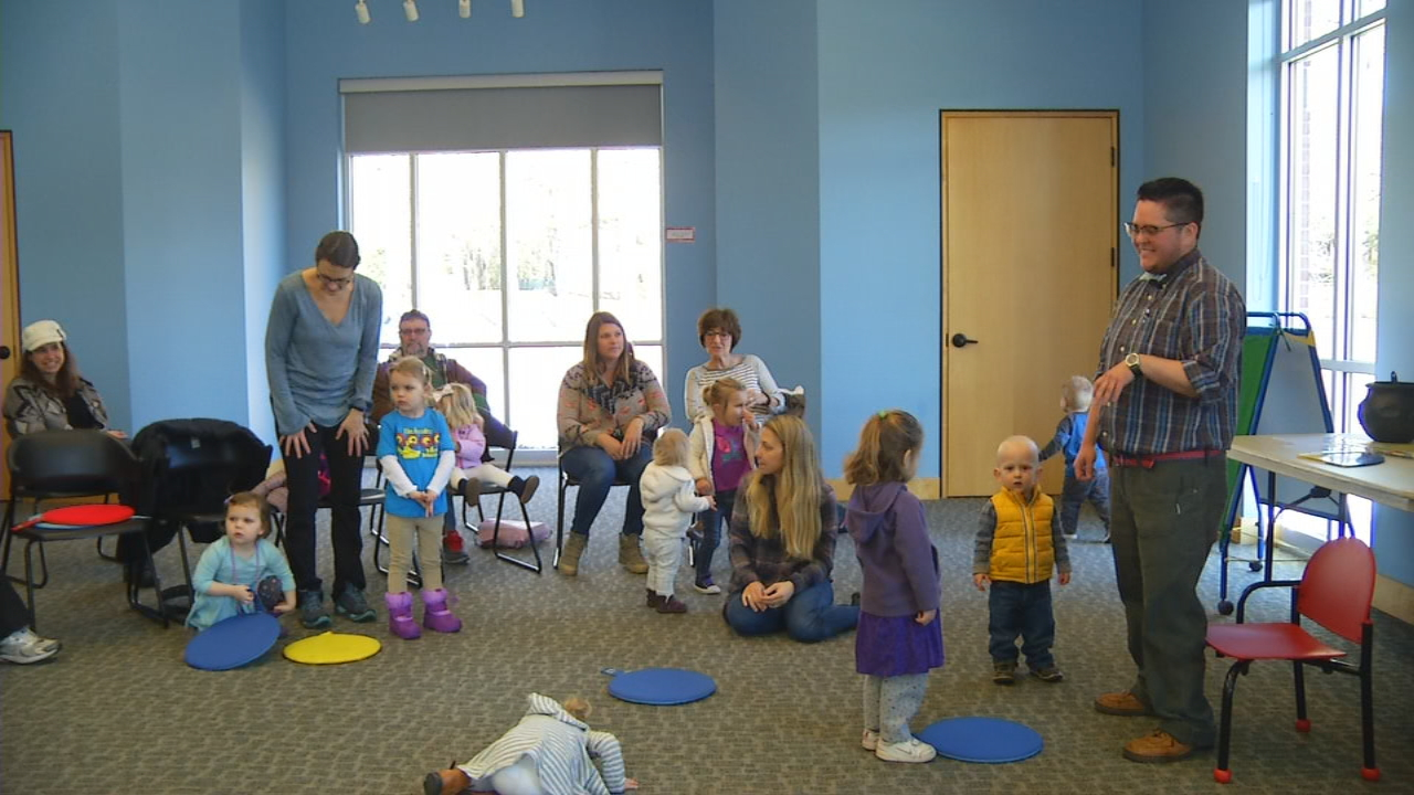 The Buncombe County Library System has a weekly activity time aimed at working with young children improve their early learning skills. The Toddler Times program offers interactive story times for children ages 18 months to 3 years. (Photo credit: WLOS staff)