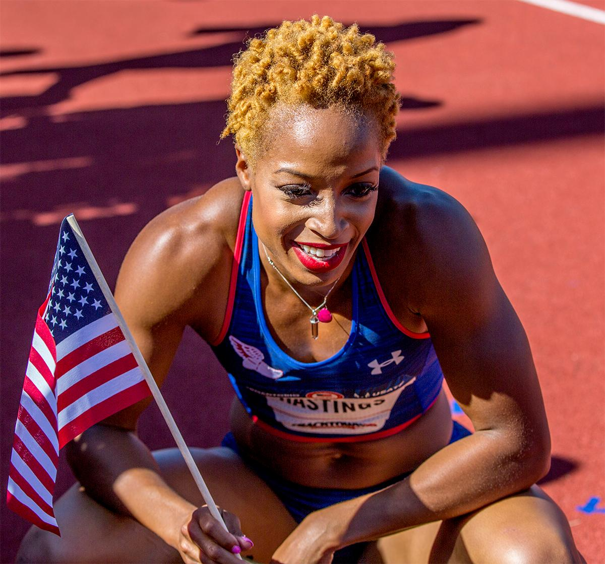Under Armour/NYAC's Natasha Hastings appropriately went with gold hair and will soon be looking to match it with a gold medal in Rio after she qualified by placing third in the 400 meters final with a time of 50.17. Photo by August Frank, Oregon News Lab
