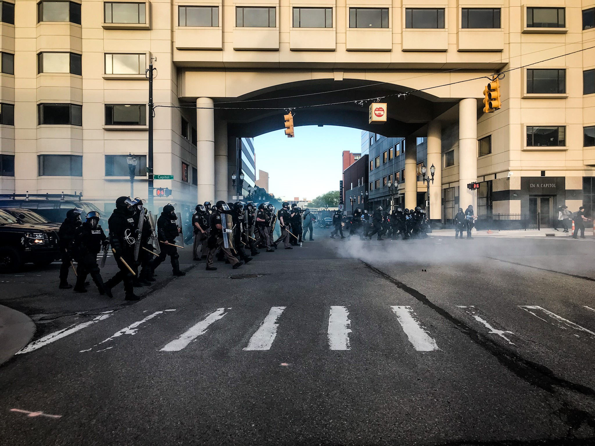 Police used teargas as a protest in Lansing turned violent on Sunday, May 31, 2020. (WWMT/Mikenzie Frost)