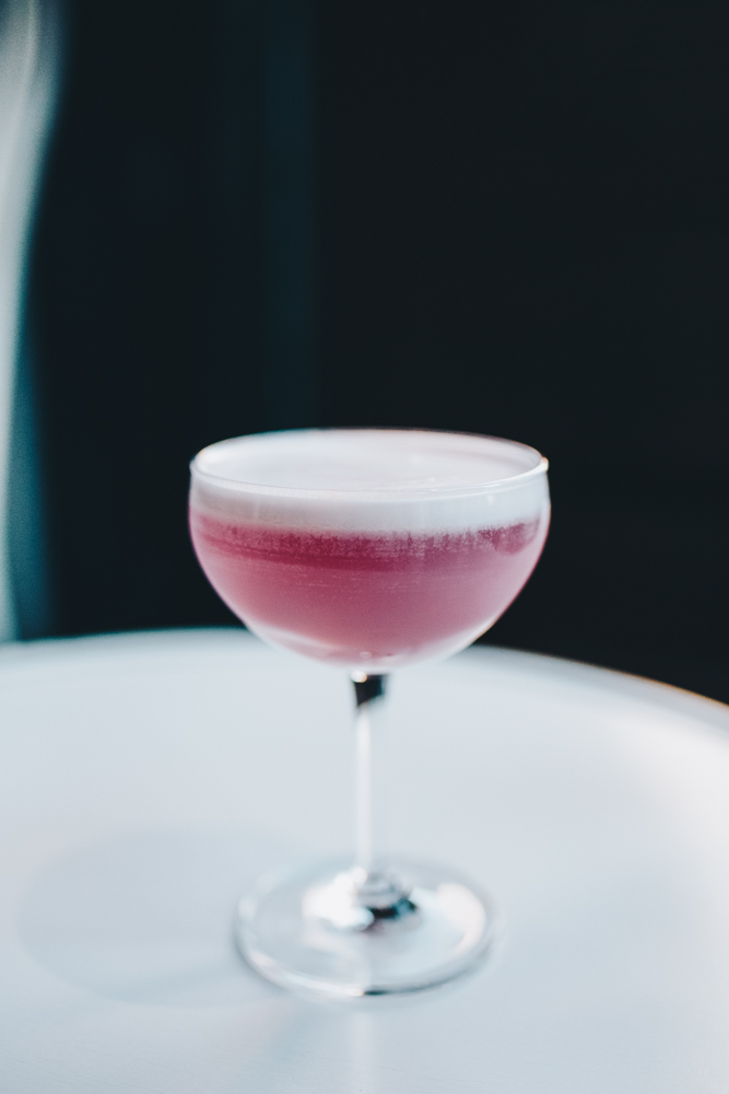 Ashley Grutza: pea blossom vodka, lavender, lime, egg white, and Peychaud's bitters /{ } Image: Catherine Viox // Published: 10.23.18