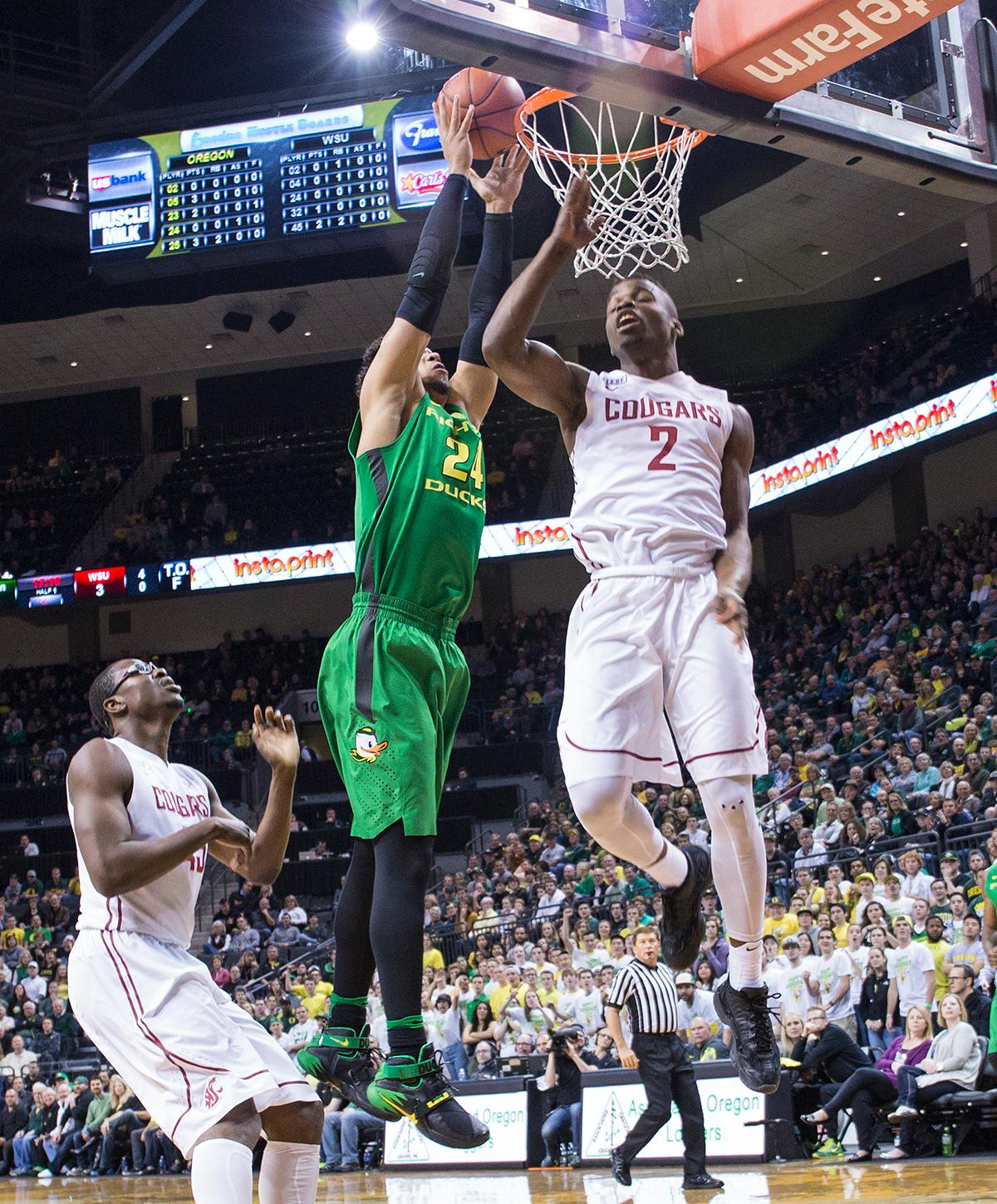 Oregon Ducks' Dillon Brooks (#24) attempts a basket against the Washington State Cougars. Brooks scored 17 points for Oregon. The Ducks beat the Cougars 76-62. Kianna Cabuco, Oregon News Lab