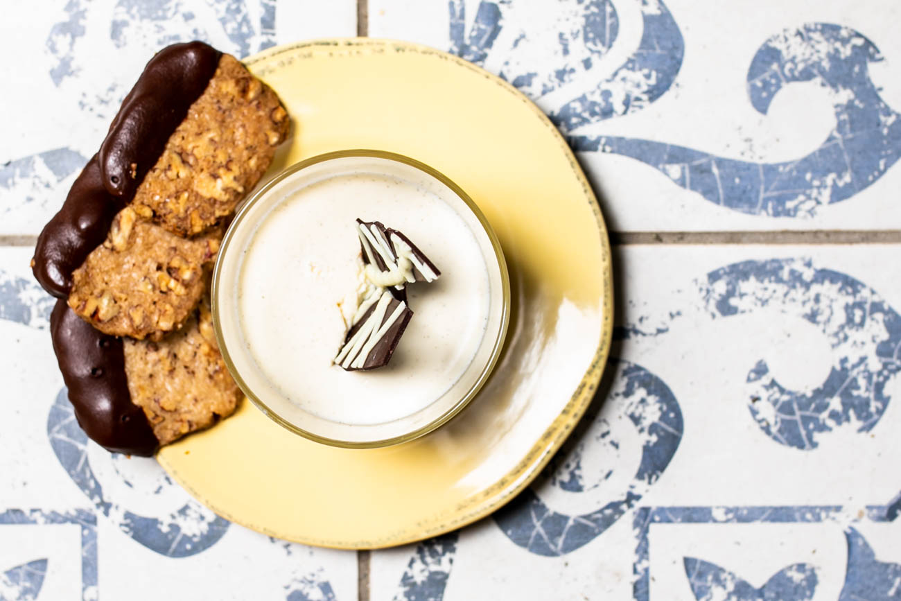 Milk and Cookies: vanilla panna cotta served with chocolate-dipped pecan shortbread / Image: Amy Elisabeth Spasoff // Published: 5.22.18