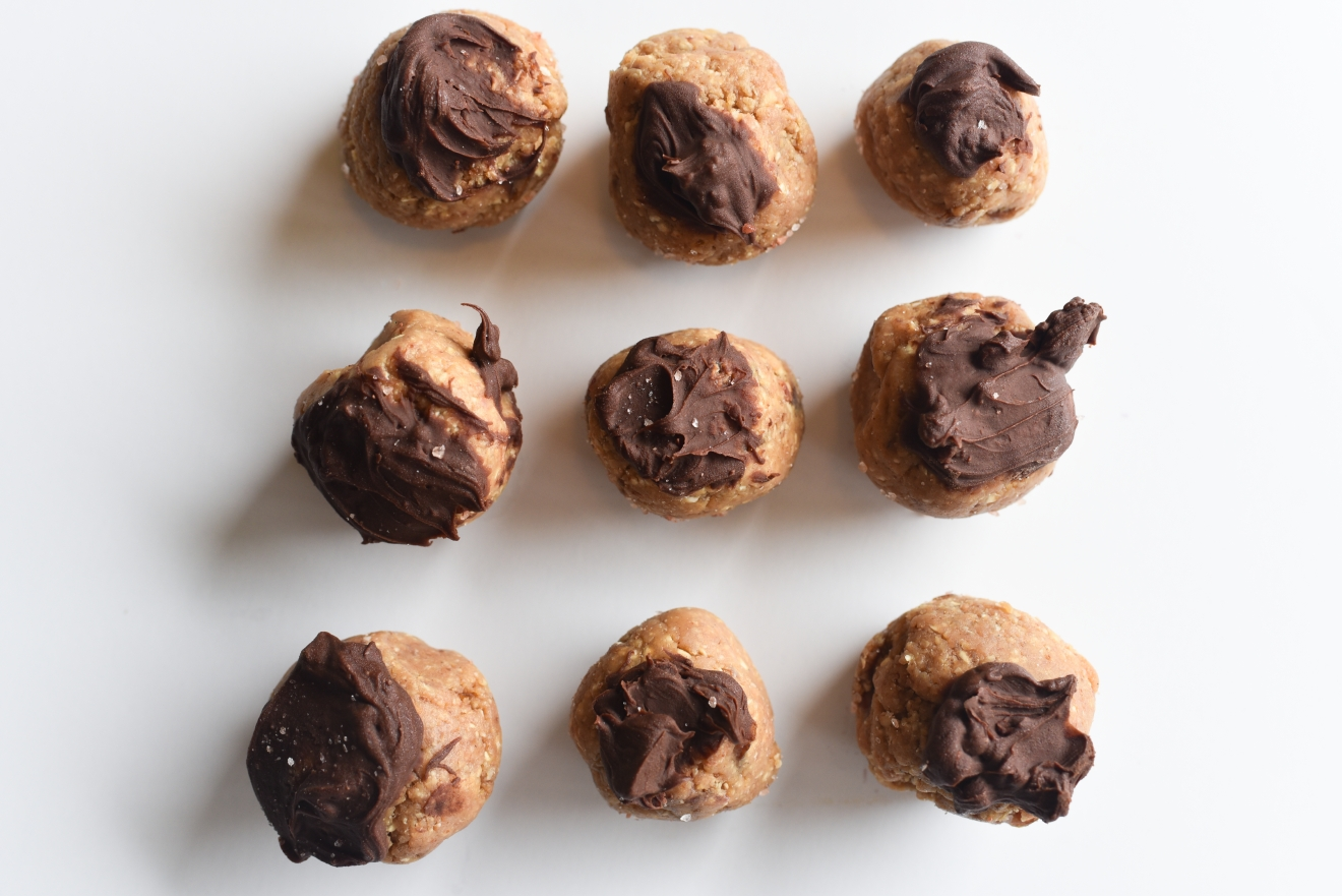 These healthy-ish treats take little time to prep and can last awhile in the freezer. They taste so good that they are sure to disappear though. Feel free to substitute your favorite nut butter or even sun butter for a delightful flavor. (Image: Rebecca Mongrain/Seattle Refined)