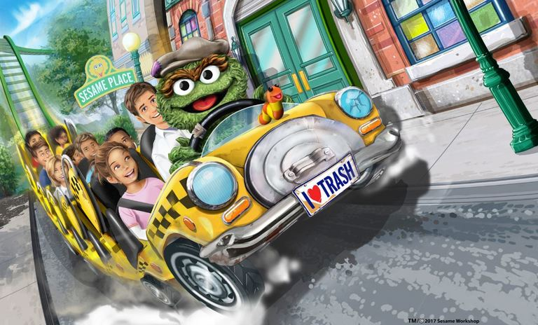 Oscar's Wacky Taxi{ }sends riders speeding down an exhilarating first drop of 40 feet, traveling over 1,200 feet of track with exciting twists, turns, and plenty of airtime hills. (Image: Courtesy Sesame Place){ }