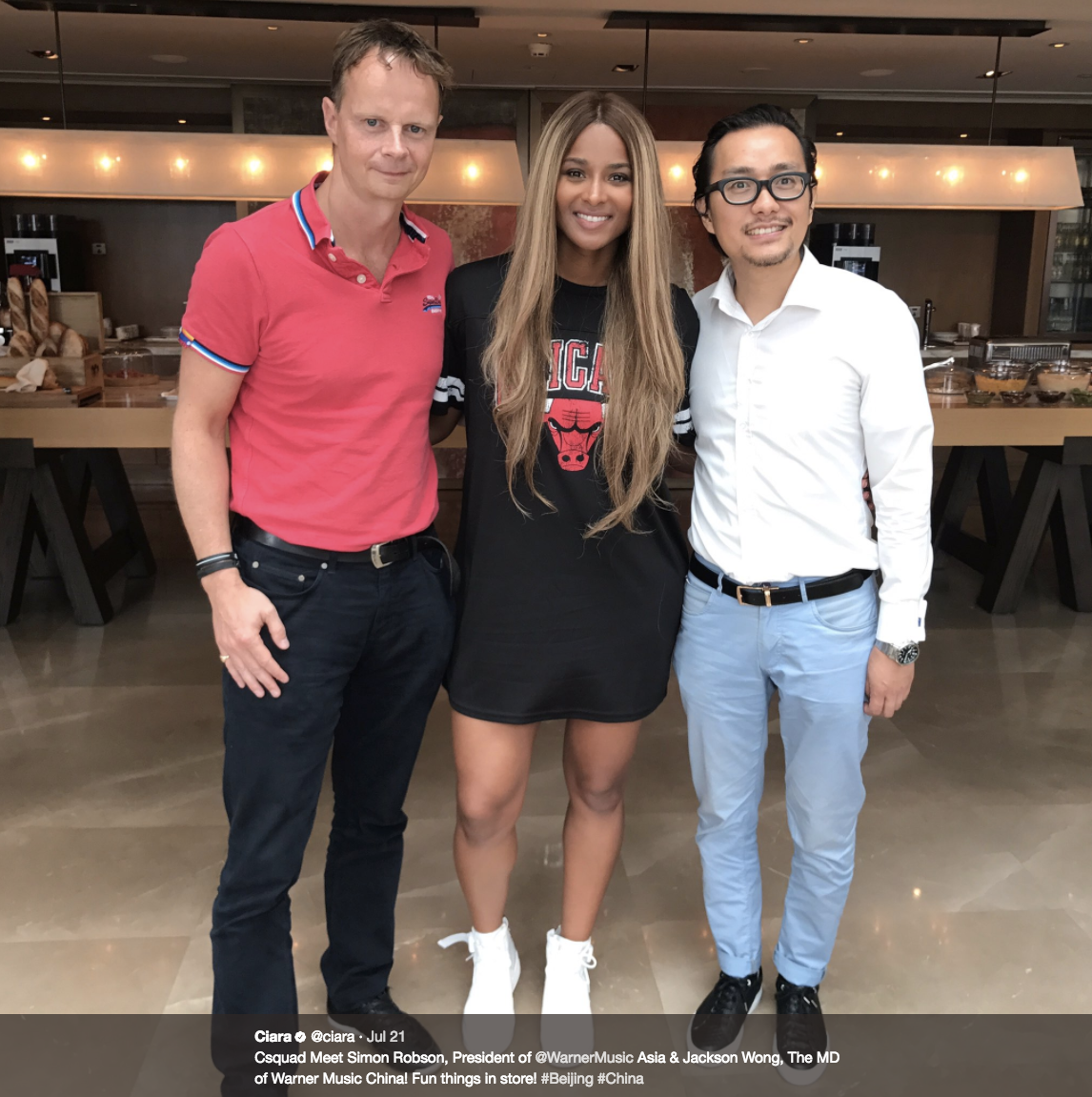 """Csquad Meet Simon Robson, President of @WarnerMusic Asia & Jackson Wong, The MD of Warner Music China! Fun things in store! #Beijing #China""                      The entire Wilson family has been traveling around China on vacation before training camp starts back in Seattle next week! Ciara, Russell, Sienna and Future spent time at Disneyland Shanghai, the Great Wall, shopping in local markets, and doing multiple photoshoots (they are the Wilsons, after all)! Russell was there in part as a rep for Nike, and spent time at their Shanghai campus doing drills with local children (and Future Jr.!) and ""bringing football to China"".  (Image: @ciara / twitter.com/ciara)"