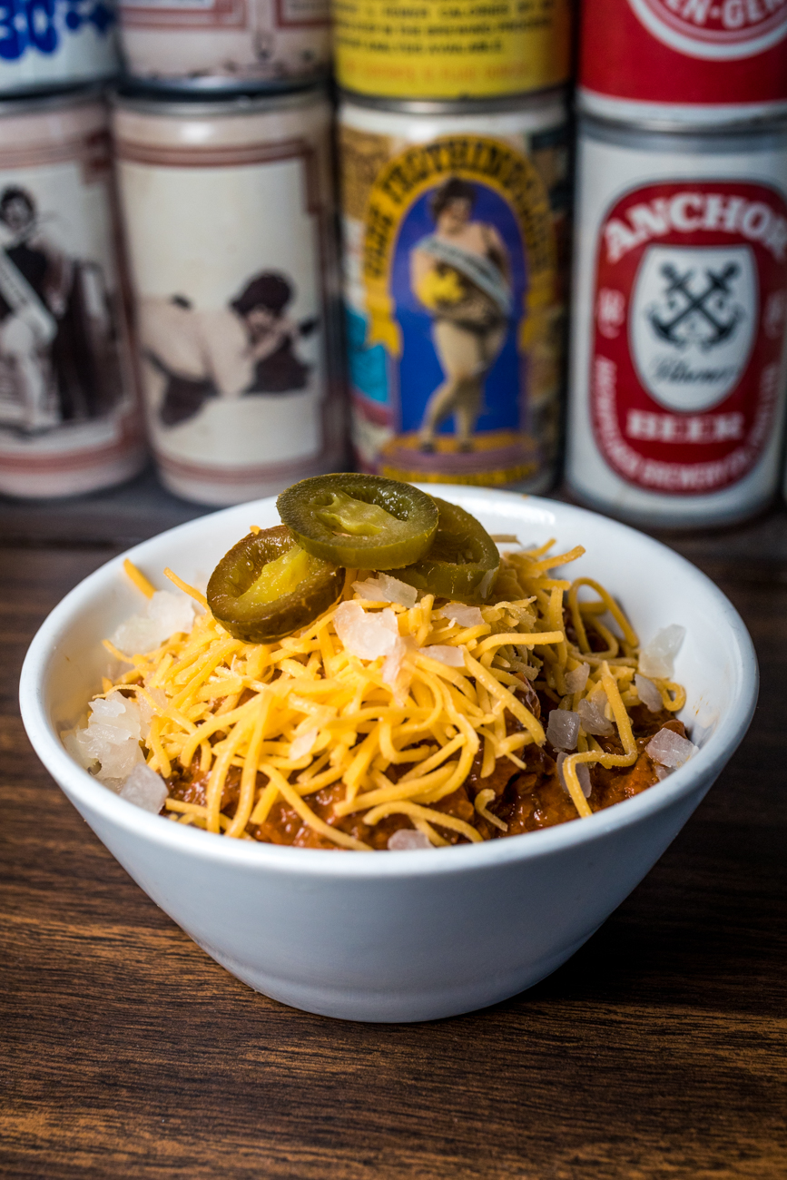 Loaded Chili topped with cheese, onion, bacon, and jalapeño / Image: Catherine Viox{ }// Published: 9.4.20