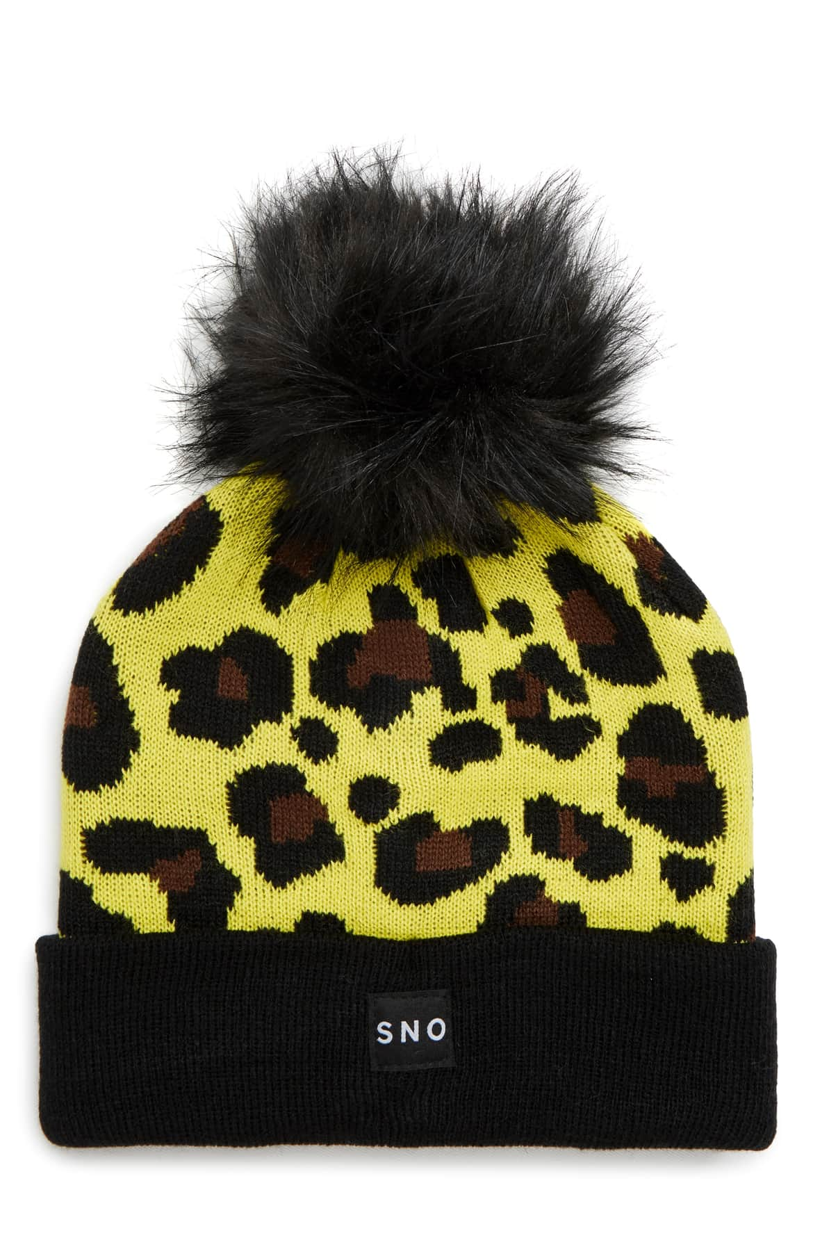 <p>This bright yellow beanie goes glam with leopard spots and a fluffy faux-fur pompom. $30.00 (Image: Nordstrom){&amp;nbsp;}</p><p></p>