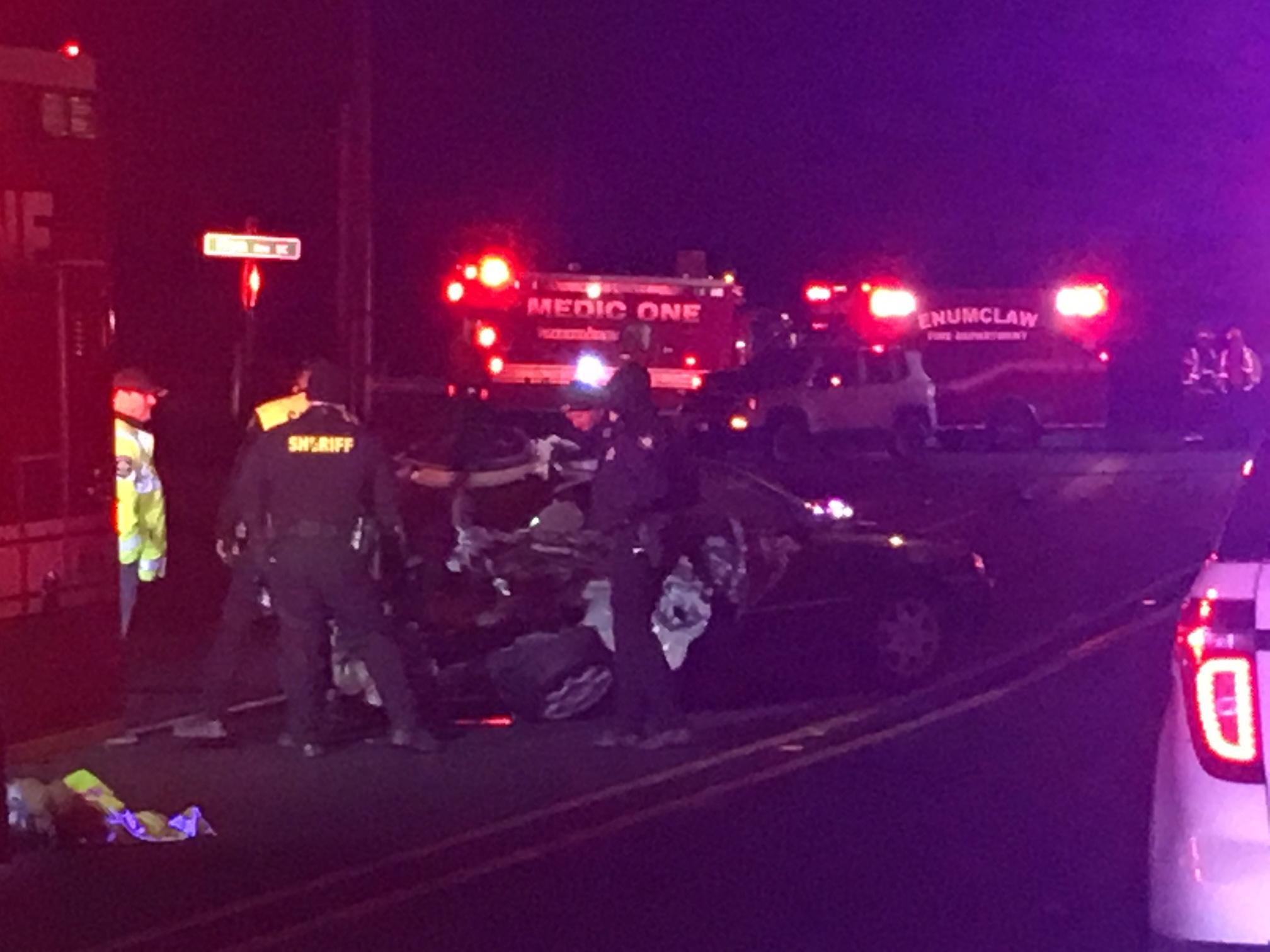 Two people were killed overnight near Enumclaw in a two-vehicle crash on State Route 164. (Photo credit: Steven Miller)