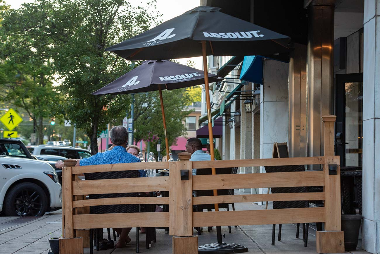 Outdoor seating is available on the patio. / Image: Joe Simon // Published: 6.25.20