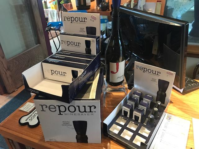 Repour on display at First Avenue Wine House in Cedar Rapids.  The product is available in packages of one, four, ten and Seventy-Two.