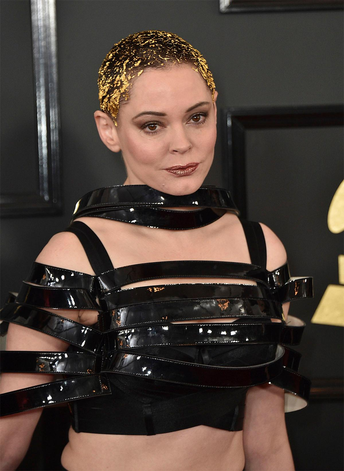 Rose McGowan arrives at the 59th annual Grammy Awards at the Staples Center on Sunday, Feb. 12, 2017, in Los Angeles. (Photo by Jordan Strauss/Invision/AP)