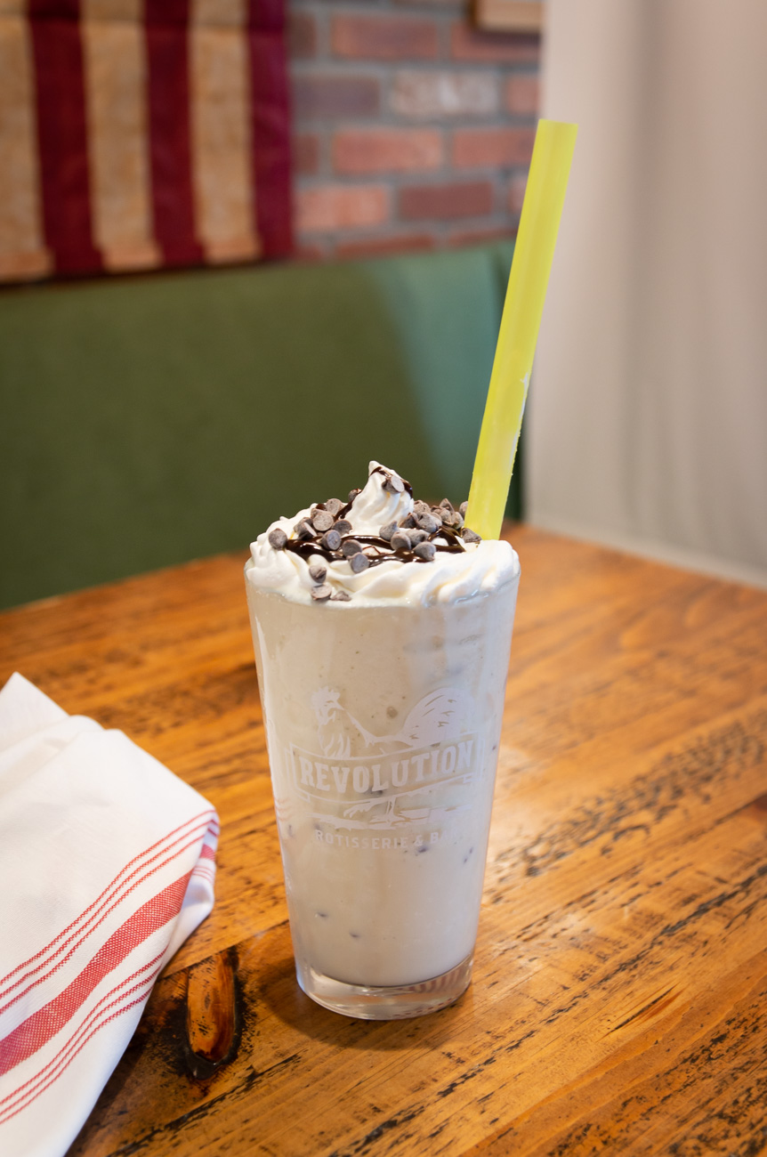 Grasshopper Boozy Shake: mint chocolate chip ice cream, white rum, Bailey's, whipped cream, and chocolate chips{ }/ Image: Elizabeth A. Lowry // Published: 10.6.20