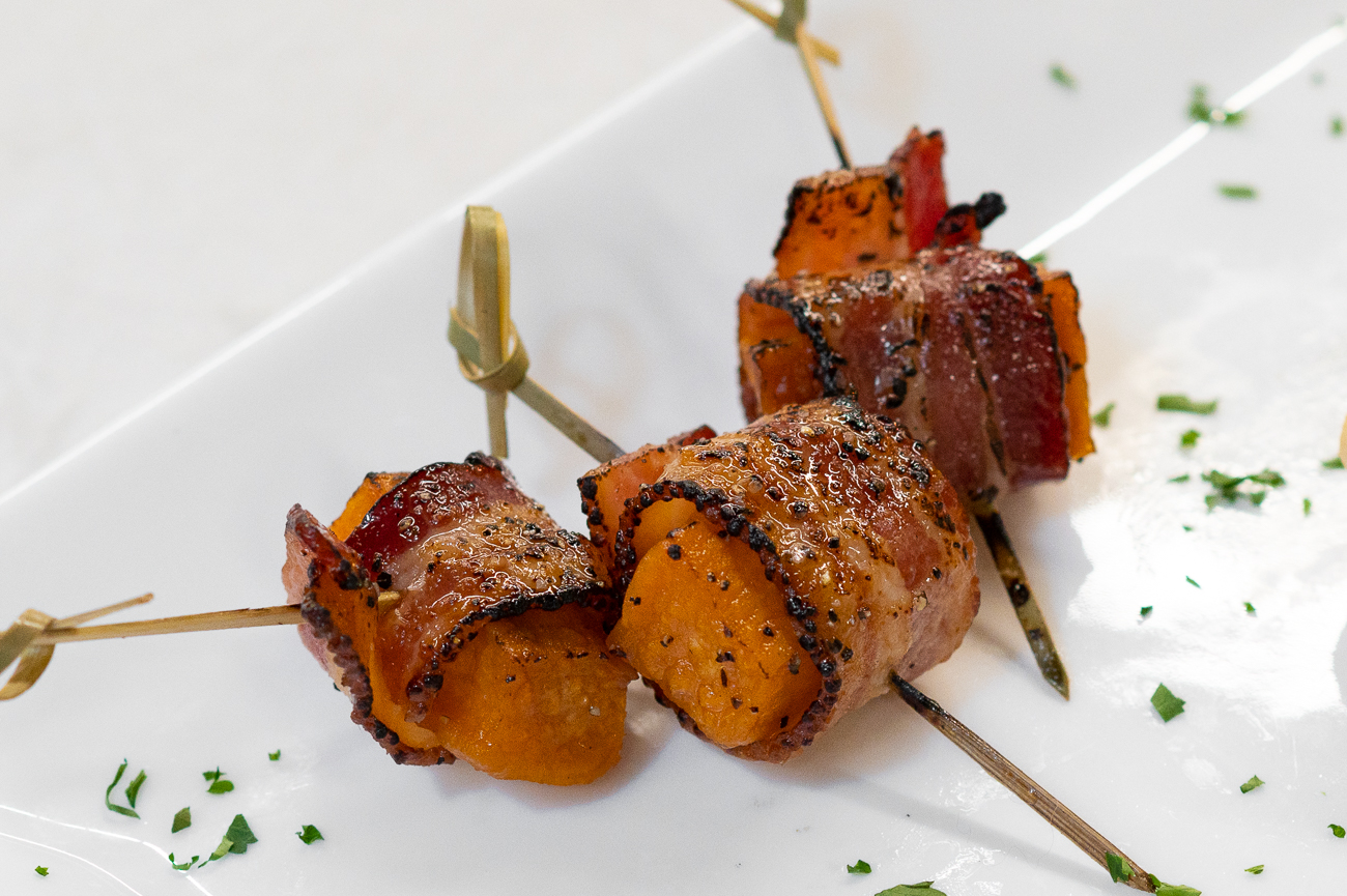 Chef's Choice offers various apps & platters that are available through the end of the year. Pictured: bacon-wrapped sweet potato bites with maple syrup glaze / Image: Phil Armstrong, Cincinnati Refined // Published: 11.6.20