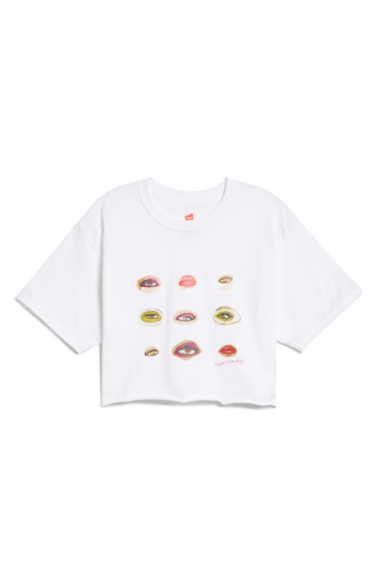 "Blair Breitenstein Lips and Eyes Crop T-Shirt - $40. A good t-shirt never goes out of style. You can dress them up or down, but it's all about what statement your shirt is making! Here are our favorites from the Pop-In@Nordstrom x Hanes. This all-exclusive is a multi-branded collab using Hanes tee's as ""wearable art."" Well known brands and designers took to the task such as Warby Parker, Opening Ceremony, Saturdays NYC, Blair Breitenstein, A.L.C., and more. All these tees will be available at Nordstrom but online as well at nordstrom.com/pop (Image: Nordstrom)"