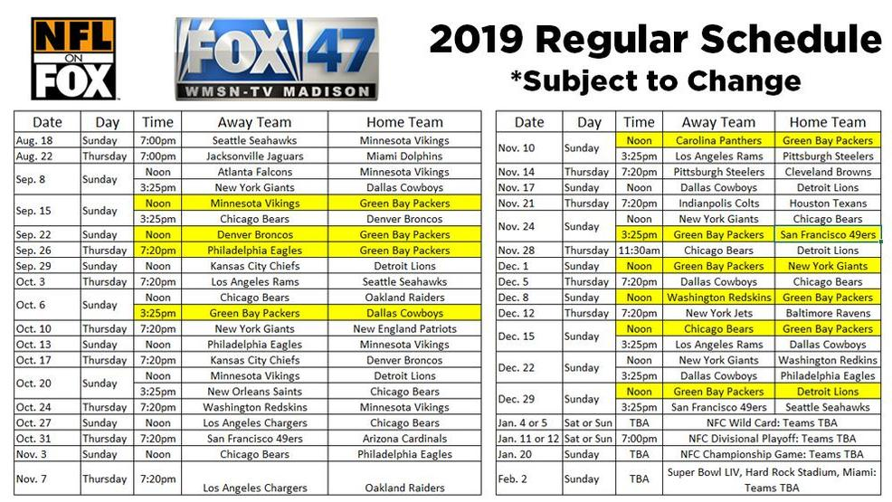 photograph about Green Bay Packers Printable Schedule identified as FOX 47 NFL Televised Program WMSN