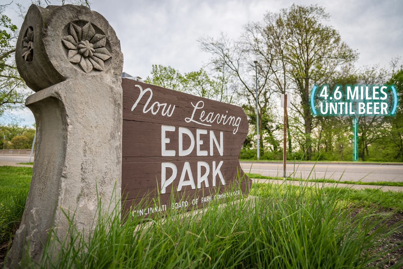 Walk on Eden Park Drive while you pass Twin Lakes Park on the right. You are now leaving Eden Park. / Image: Phil Armstrong, Cincinnati Refined // Published: 4.25.17