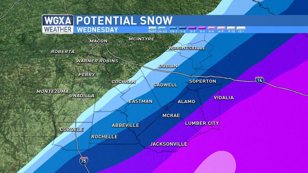 Wednesday Morning Update Snow Possible In Middle Georgia Today Wgxa: Map Of Middle Georgia State College At Usa Maps