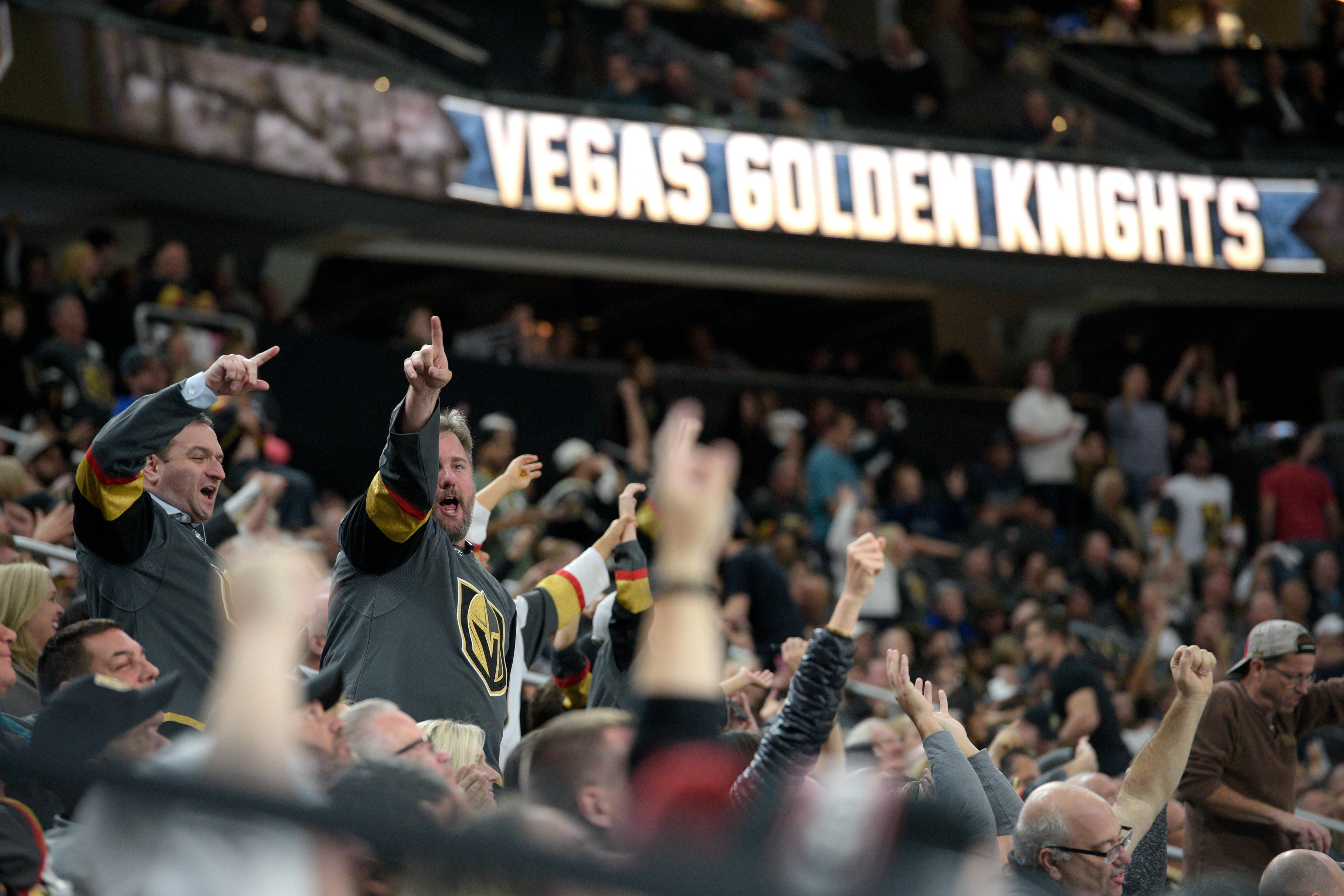 Vegas Golden Knights fans cheer during the Knights home opener Tuesday, Oct. 10, 2017, at the T-Mobile Arena. The Knights won 5-2 to extend their winning streak to 3-0. CREDIT: Sam Morris/Las Vegas News Bureau