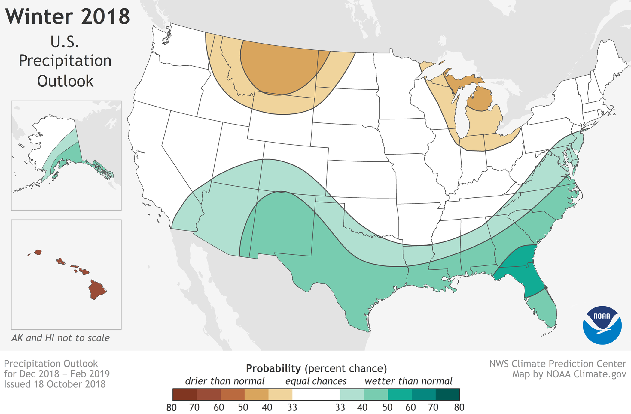 Winter Outlook 2018-19 map for precipitation. (NOAA)