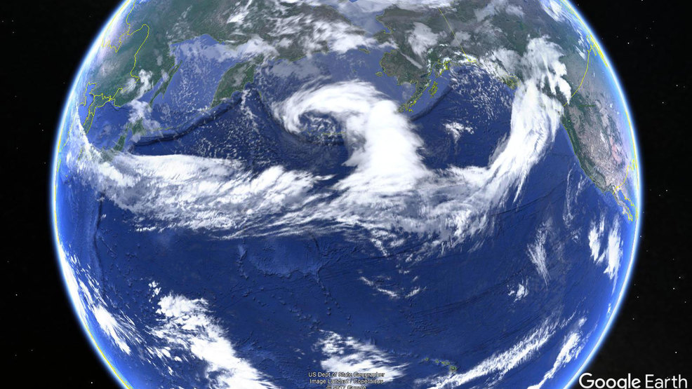 Satellite pic shows incoming rain part of moisture plume stretching 6,000 miles to China