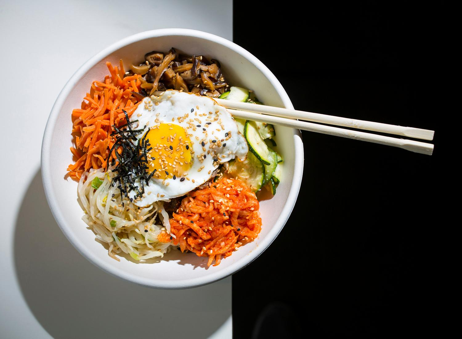 Bulgogi Bibimbap at Oma Bap, located at 1223 E Cherry St. on Capitol Hill. (Sy Bean / Seattle Refined)