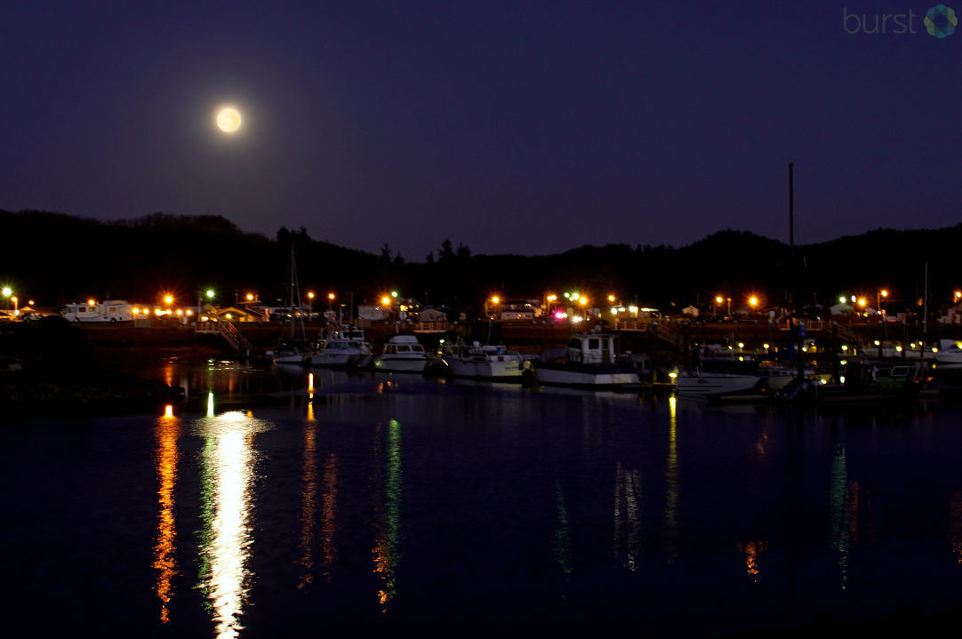 Moonrise Over Salmon Harbor Marina by Debbie Tegtmeier. Share your videos & photos #LiveOnKVAL at BURST.com/KVAL