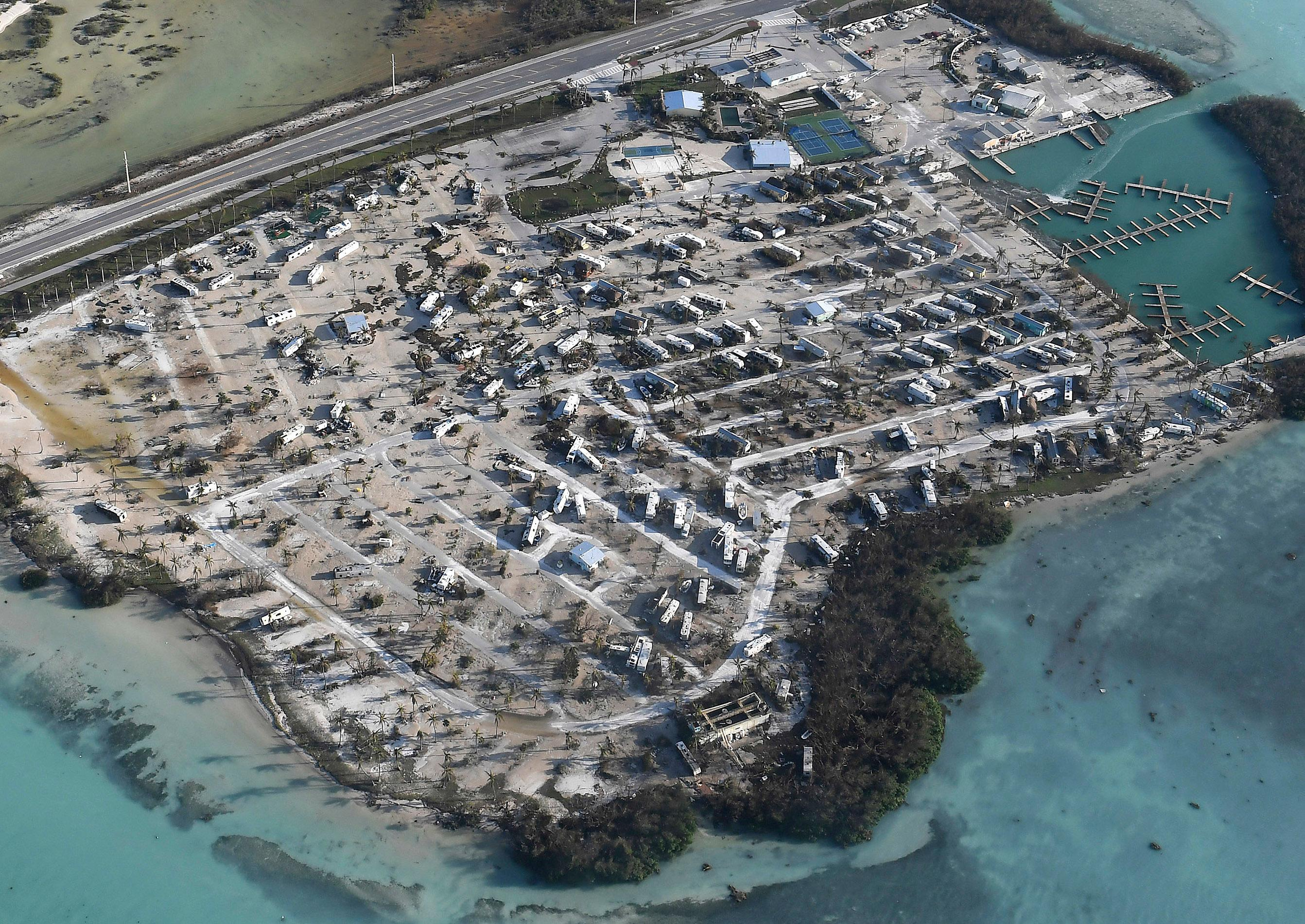 Overturned trailer homes are shown in the aftermath of Hurricane Irma, Monday, Sept. 11, 2017, in the Florida Keys. (Matt McClain/The Washington Post via AP, Pool)