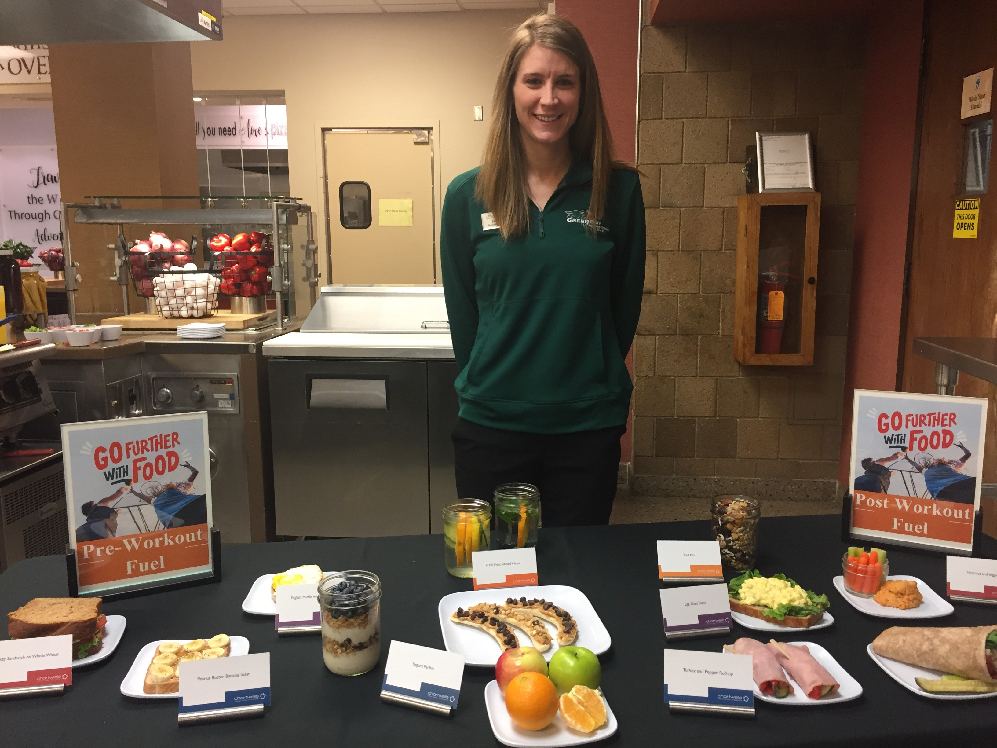 Justin Steinbrinck is hearing all about nutritious recipes on the campus of UW-Green Bay, as he's eating breakfast with the men's soccer team there. (WLUK photo)