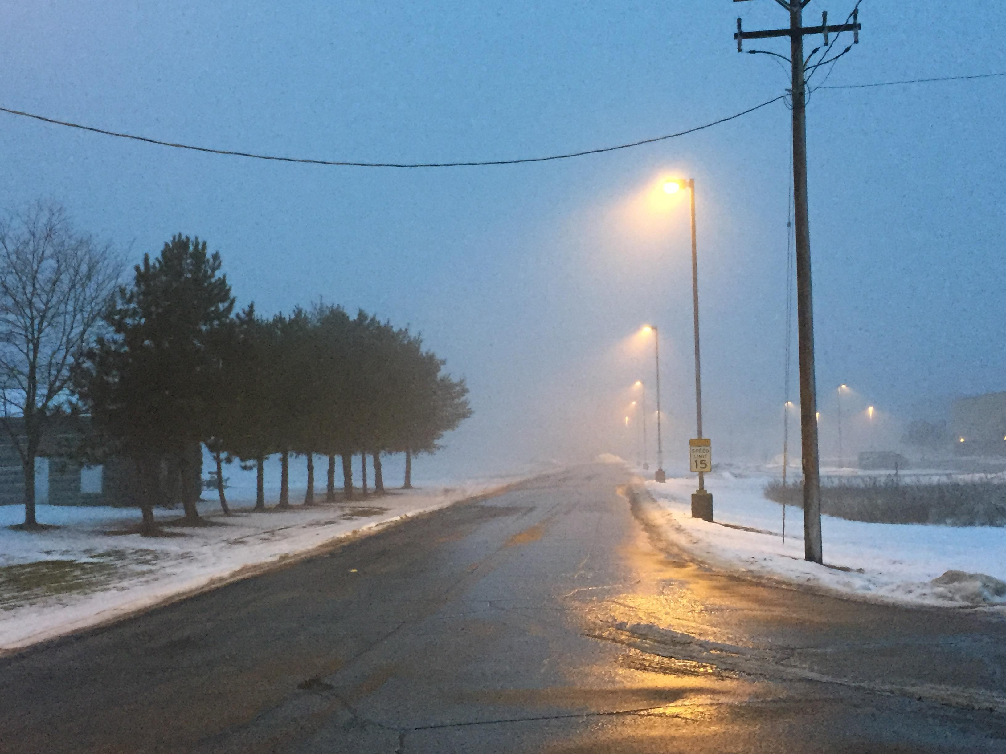 Fog and icy roads greet people in Crivitz the morning of Jan. 11, 2018. (WLUK/Jerry Van Handel)