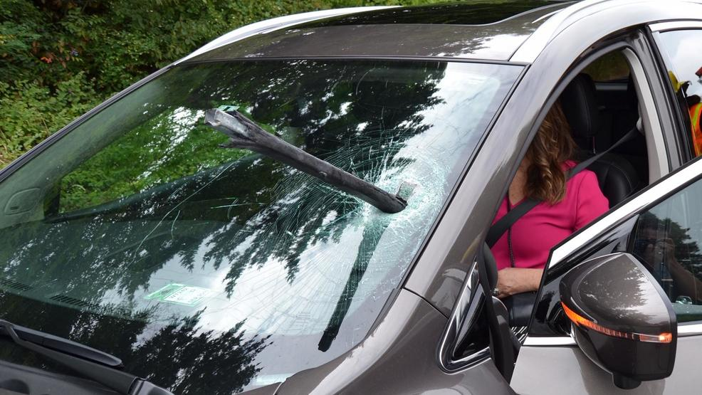Driver describes how a metal tube pierced her windshield on