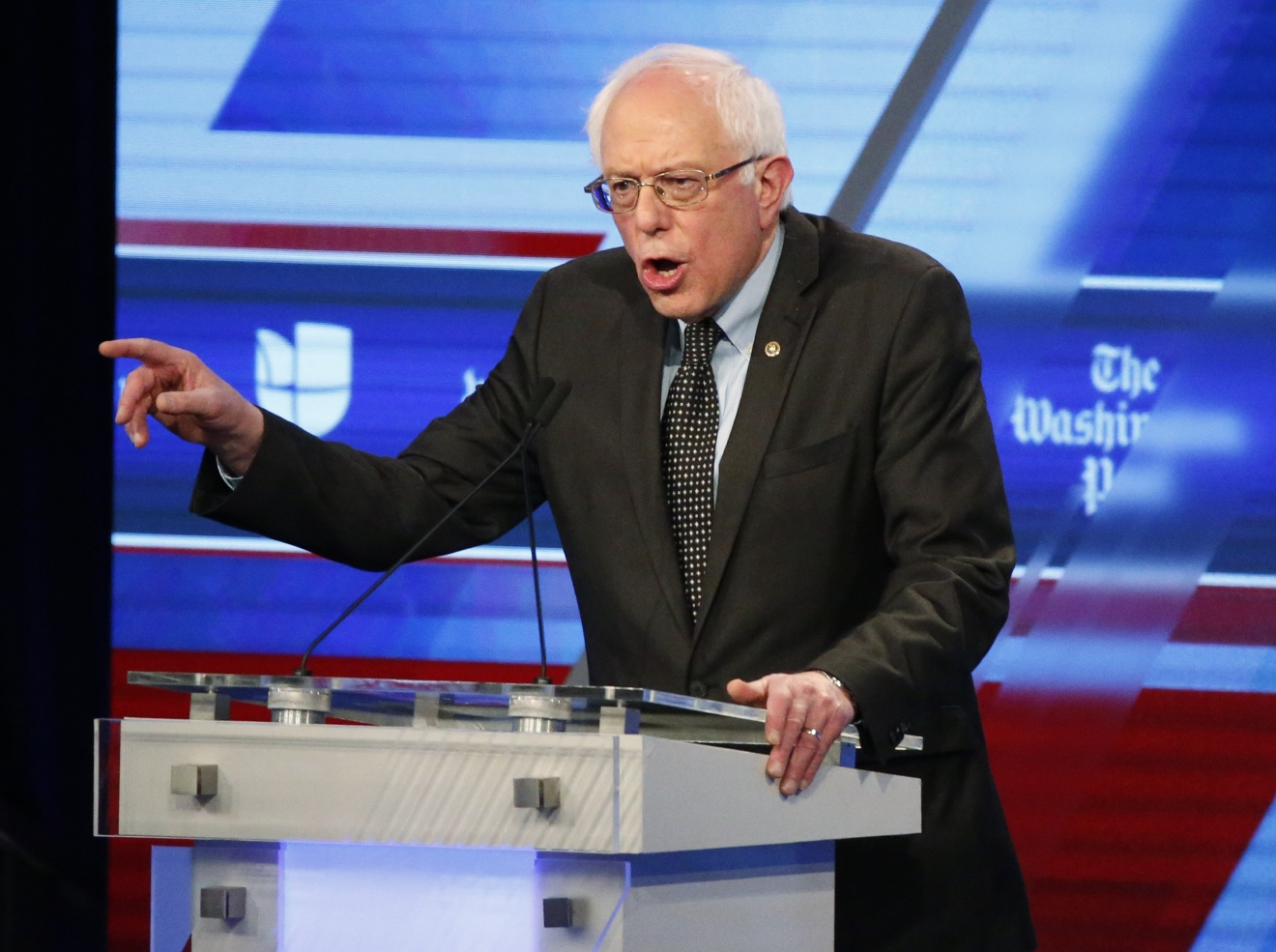 Democratic presidential candidate, Sen. Bernie Sanders, I-Vt, speaks at the Univision, Washington Post Democratic presidential debate at Miami-Dade College,  Wednesday, March 9, 2016, in Miami. (AP Photo/Wilfredo Lee)