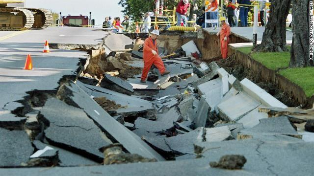 A water main collapsed an entire block-long part of Ocean Park Boulevard in Santa Monica, California, in December 2002.