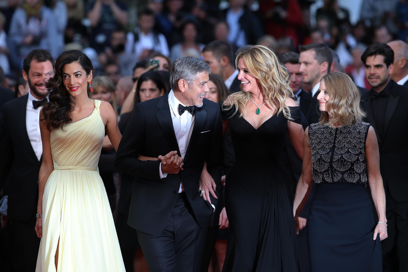 Amal Clooney, from left, actors George Clooney, Julia Roberts and director Jodie Foster arrive for the screening of the film Money Monster at the 69th international film festival, Cannes, southern France, Thursday, May 12, 2016. (AP Photo/Thibault Camus)