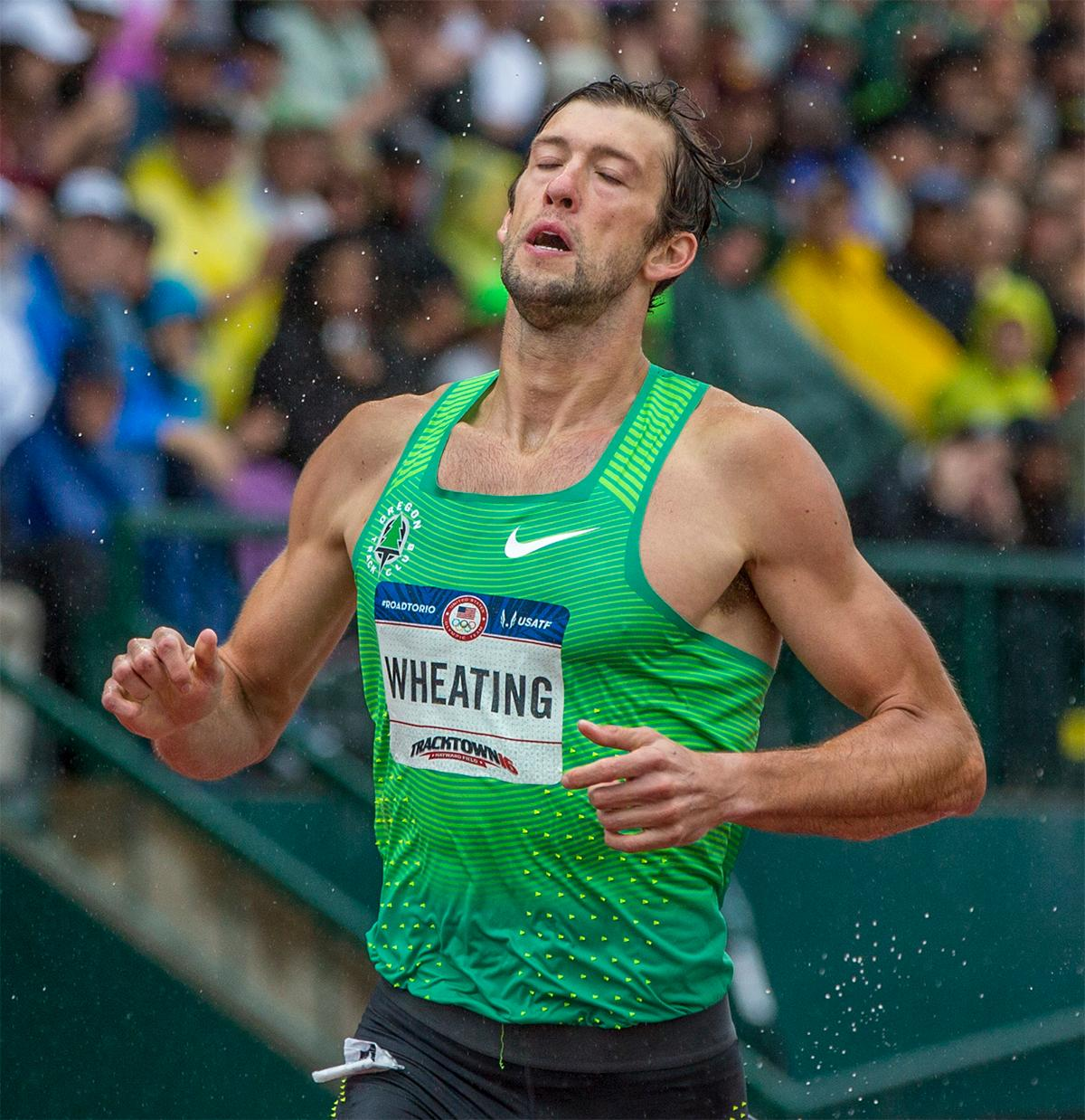 Nike OTC's Andrew Wheating shows the wear on his face as he finishes the 1,500 amidst a downpour. Wheating finished sixth overall with a time of 3:44.73 and qualified for the finals. Photo by August Frank, Oregon News Lab
