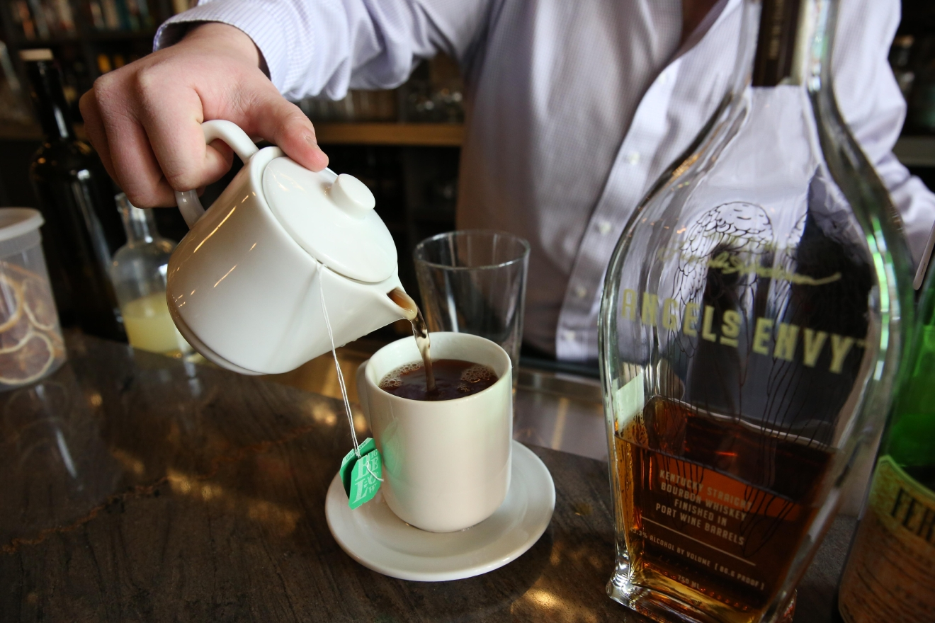 Before pouring the drink in, Barton warmed the mug by filling it with hot water. (Amanda Andrade-Rhoades/DC Refined)