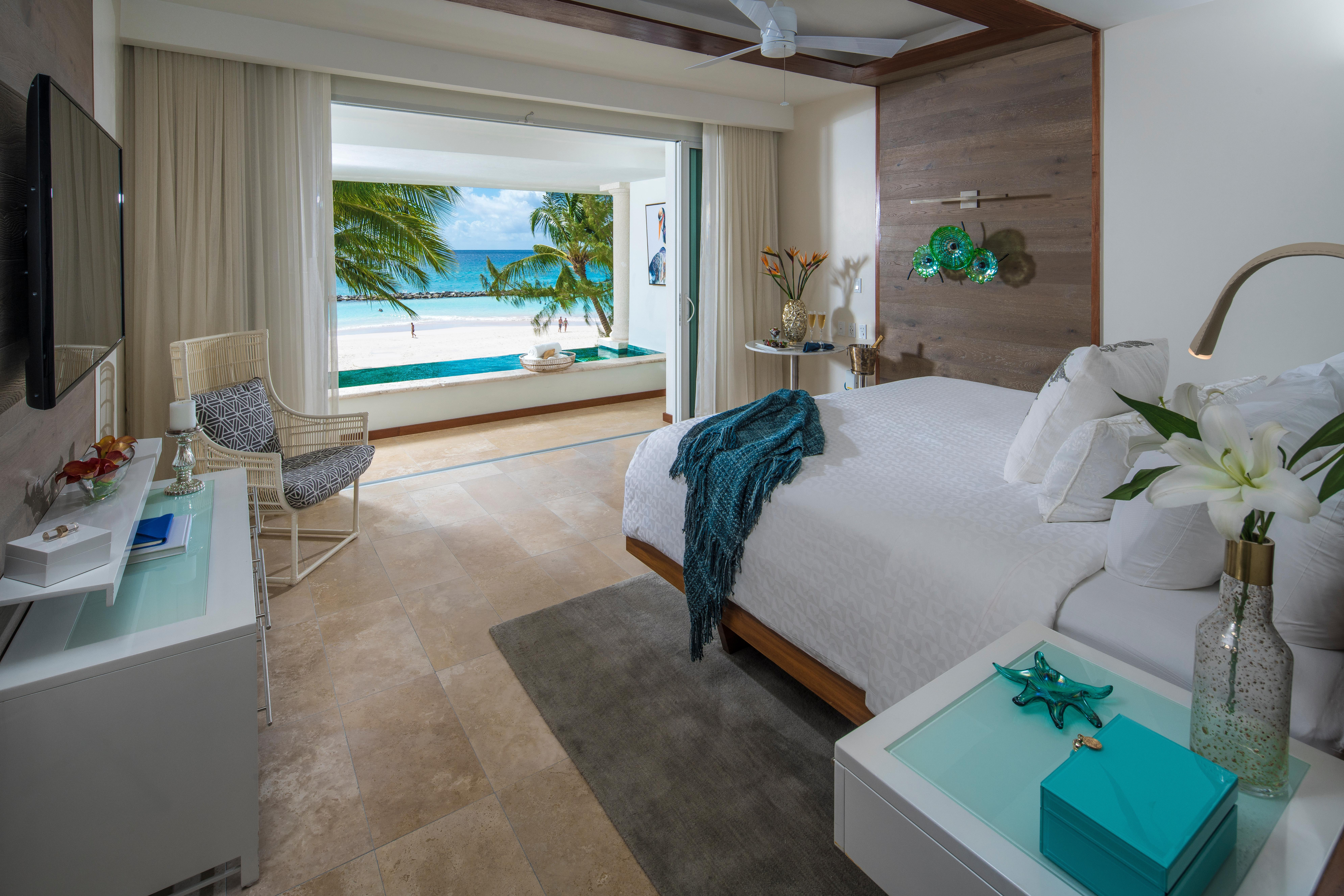 Since I had a king-sized, high thread count sheet-adorned bed all to myself, I wasn't woken up all night long by my husband's snores, or him telling me I was doing the same. (Image: Courtesy Sandals Royal Barbados)