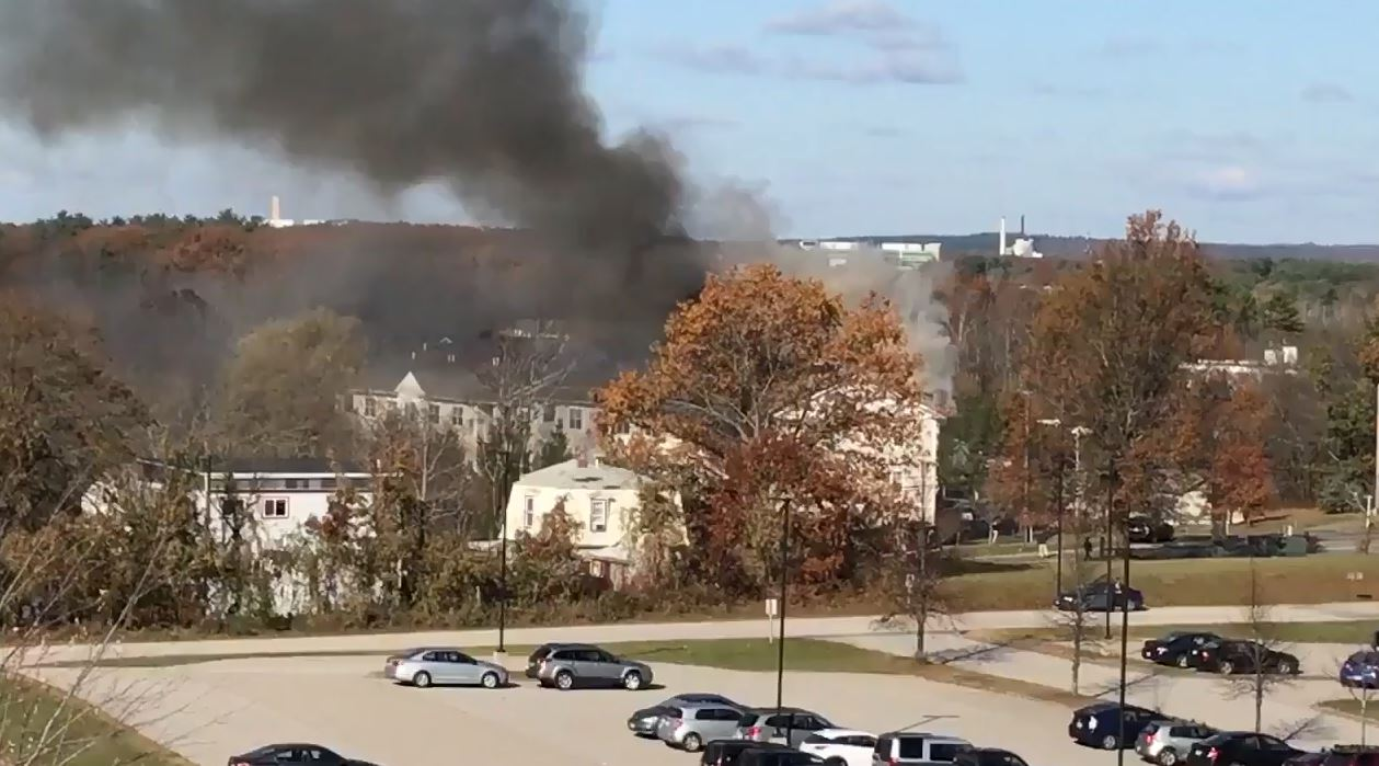 South Portland City Councilor Adrian Dowling says heavy black smoke can be seen coming from the Liberty Commons apartment complex on Westbrook Street. (Courtesy:{&amp;nbsp;}Adrian Dowling)<p></p>