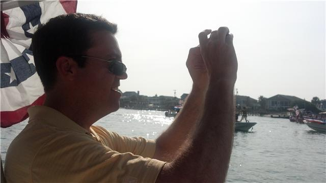 Ed Piotrowski taking a picture at the boat parade